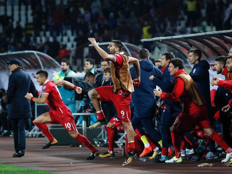 Serbia celebrating the successful World Cup qualification. (Photo by Srdjan Stevanovic/Getty Images)
