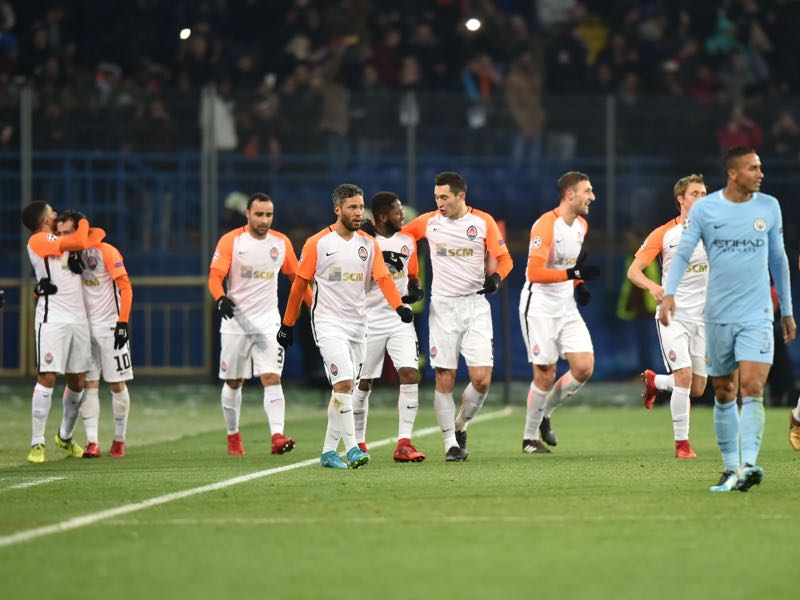 The South American fever was prevalent against City as Bernard (celebrating with Taison on the left) scored the opening goal and Ismaily (third from left) scored the second. (GENYA SAVILOV/AFP/Getty Images)