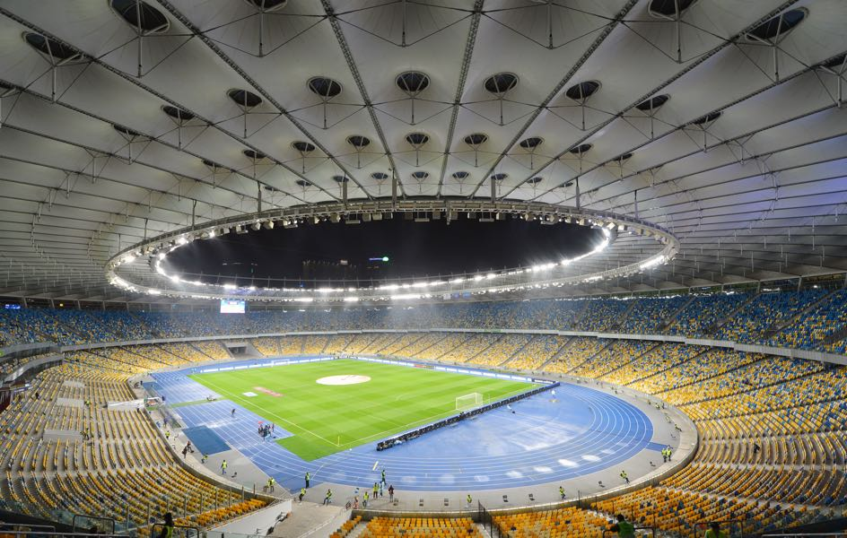 Shakhtar vs Olympique Lyon will take place at the NSC Olimpiyskiy Complex in Kyiv. (Photo by Genya Savilov/EuroFootball/Getty Images)