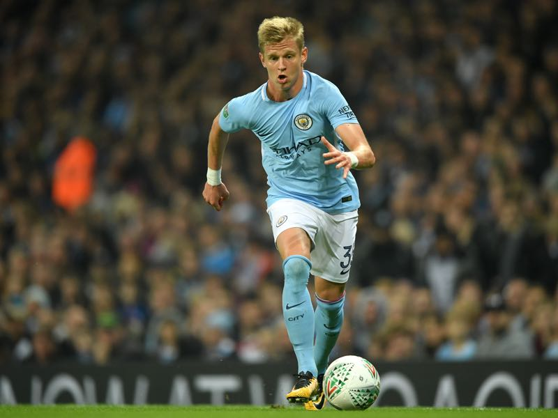 Oleksandr Zinchenko in action for Manchester City. (Photo by Gareth Copley/Getty Images)