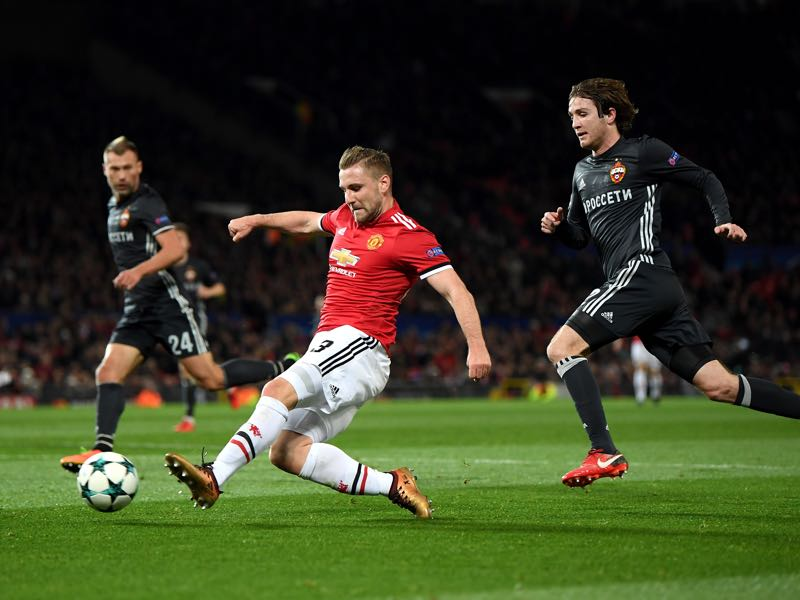 Manchester United v CSKA Moscow - Luke Shaw (c.) was the man of the match against CSKA Moscow. (Photo by Laurence Griffiths/Getty Images)