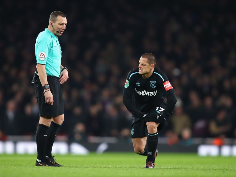 Chicharito has struggled at times for West Ham United this season. (Photo by Julian Finney/Getty Images)