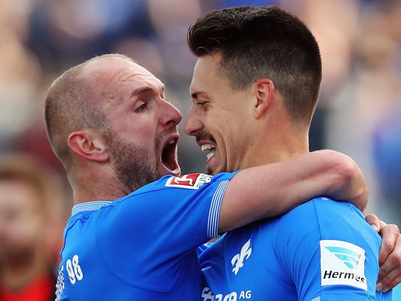 Konstantin Rausch (l.) and Sandro Wagner (r.) resurrected their respective careers while playing for Darmstadt. (Photo by Alex Grimm/Bongarts/Getty Images)