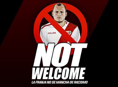 Rayo's fan club produced Zozulya Not Welcome posters to display their dislike for the player. (Rayo Total)
