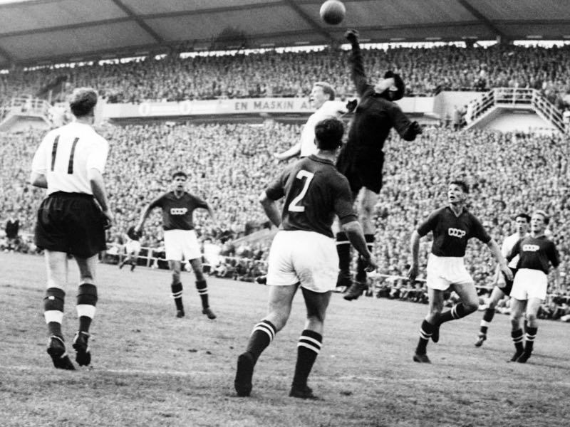 Lev Yashin's tendencies to come far outside his six-yard box was something completely alien to most football fans. (STAFF/AFP/Getty Images)