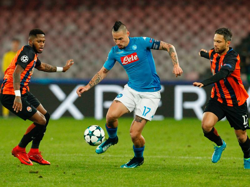 Fred (l.) and Marlos (r.) here in action against Napoli's Marek Hamsik (c.) were excellent for Shakhtar Donetsk this season. (CARLO HERMANN/AFP/Getty Images)