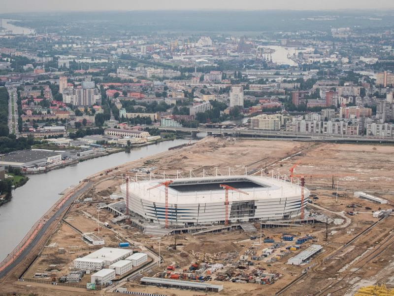 The Kaliningrad Stadium is nearing completion and was supposed to be opened this week in a friendly between Baltika and Schalke. (MLADEN ANTONOV/AFP/Getty Images)