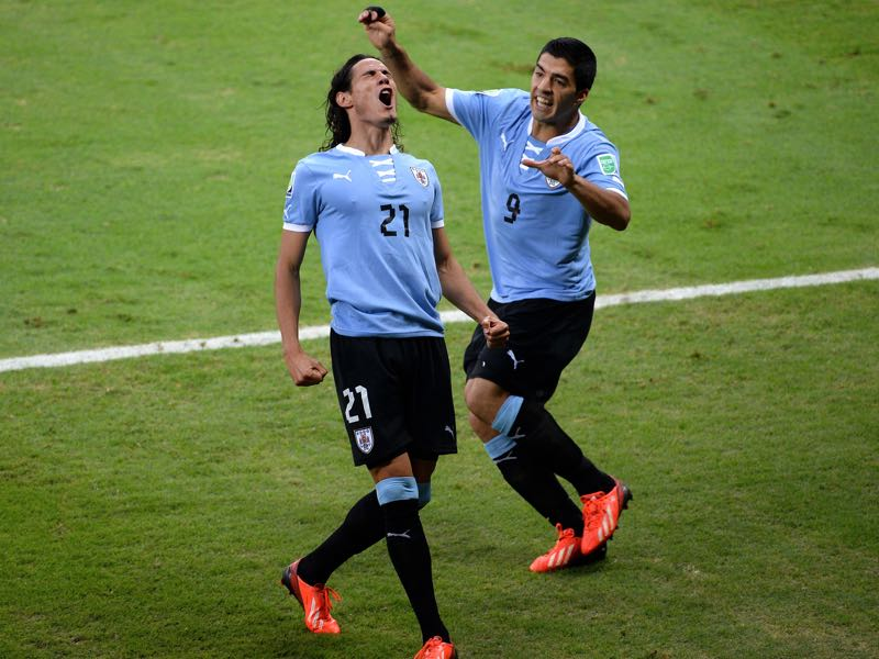 Edinson Cavani and Luis Suarez lead the line for Uruguay yet it was Cavani who was voted the forward of the tournament by our readers (Photo by Laurence Griffiths/Getty Images)