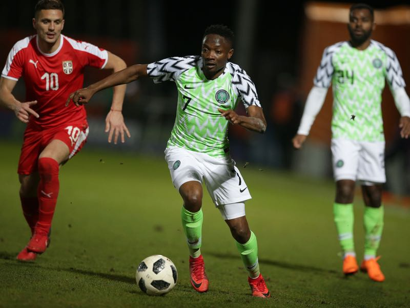 Ahmed Musa (c.) will want to show the world that he is a top striker by leading Nigeria out of Group D (Photo credit DANIEL LEAL-OLIVAS/AFP/Getty Images)