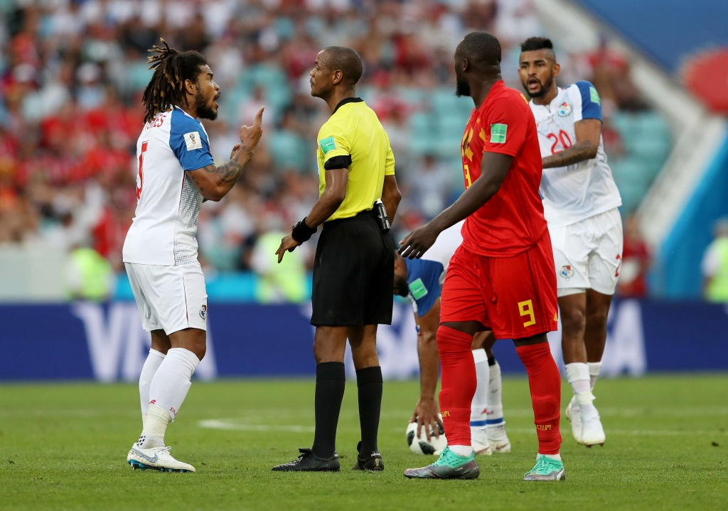 Roman Torres of Panama confronts referee Janny Sikazwe during the 2018 FIFA World Cup Russia group G match between Belgium and Panama at Fisht Stadium on June 18, 2018 in Sochi, Russia. (Photo by Francois Nel/Getty Images)