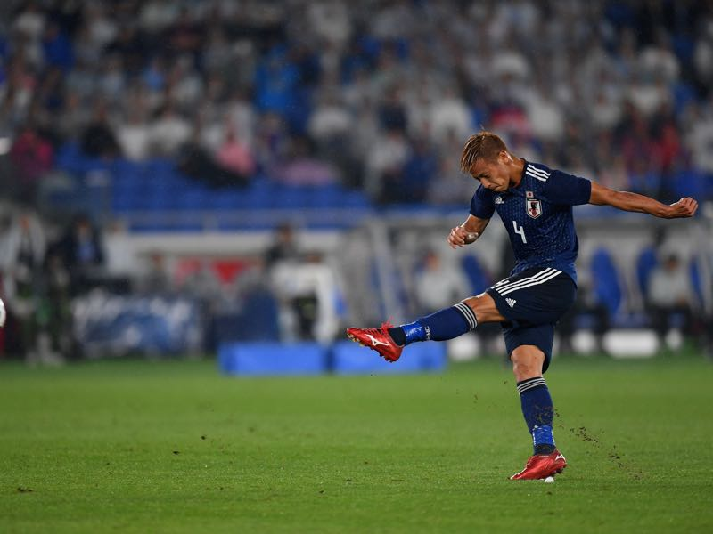 Keisuke Honda now plays for Pachuca in Liga MX and will now try to lead the Blue Samurai out of Group H (Photo by Atsushi Tomura/Getty Images)