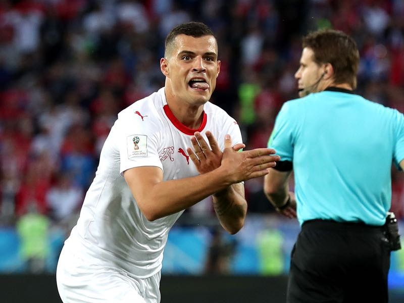 Granit Xhaka's double-eagle goal celebration will produce some tears among diplomats (Photo by Clive Rose/Getty Images)