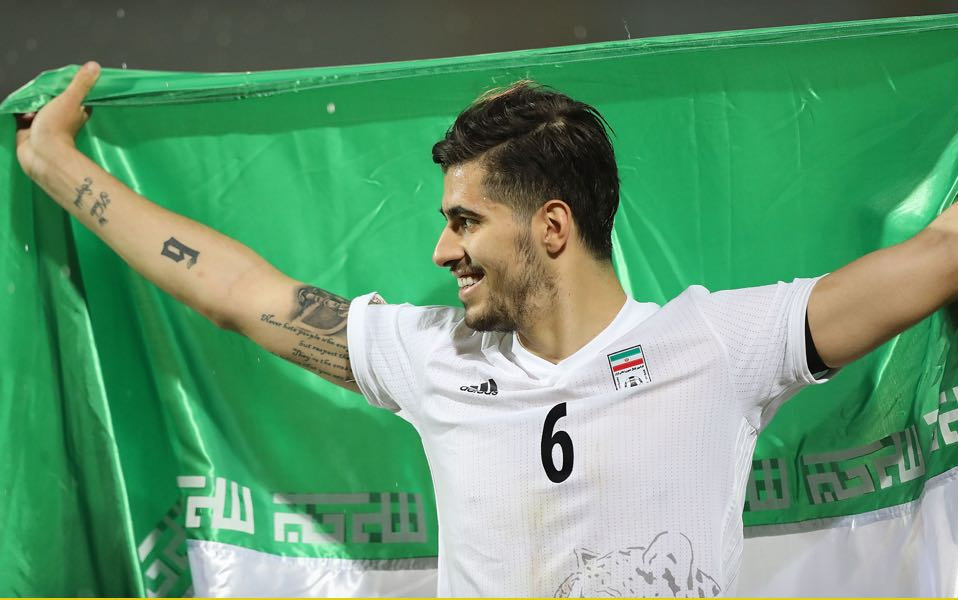 Saeid Ezatolahi of Iran celebrates after the match during FIFA 2018 World Cup Qualifier match between Iran and Uzbekistan at Azadi Stadium on June 12, 2017 in Tehran, Iran. (Photo by Amin M. Jamali/Getty Images)