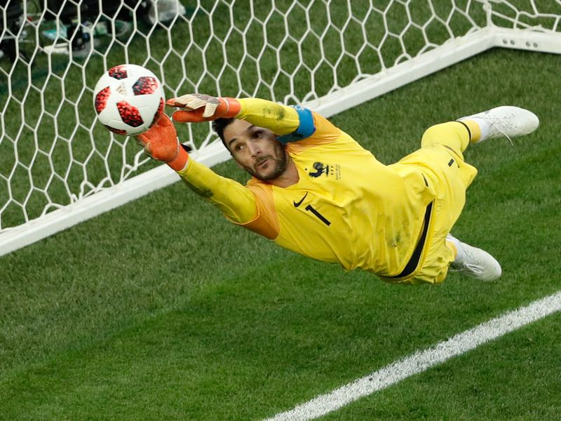 Hugo Lloris was brilliant against Belgium, securing France a spot in the final (Photo by Adrian DENNIS / AFP)