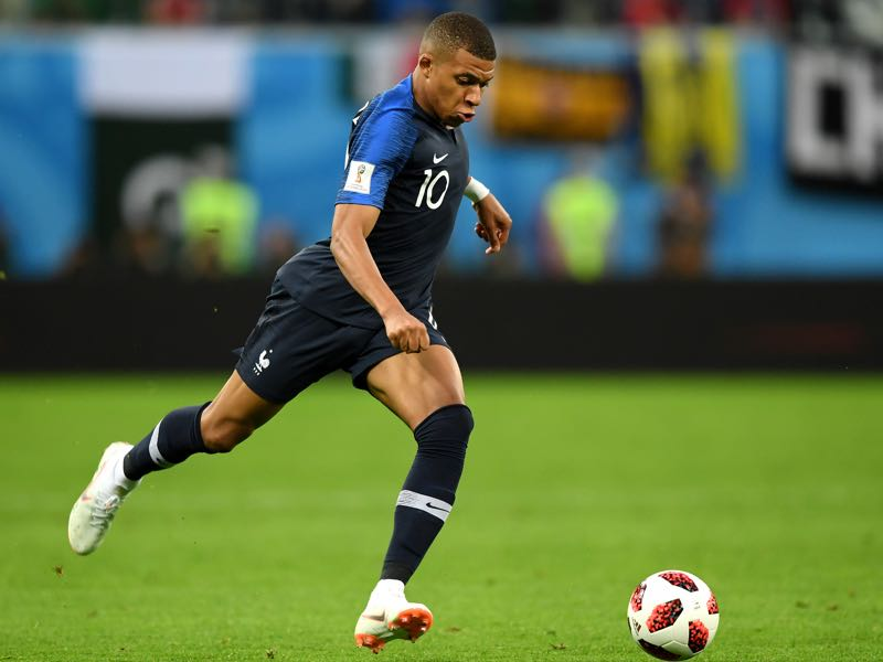 Kylian Mbappe of France in action during the 2018 FIFA World Cup Russia Semi Final match between Belgium and France at Saint Petersburg Stadium on July 10, 2018 in Saint Petersburg, Russia. (Photo by Shaun Botterill/Getty Images)