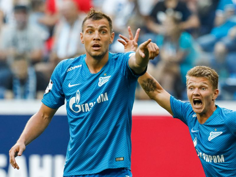 Artem Dzyuba (L) and Oleg Shatov of FC Zenit Saint Petersburg react during the Russian Premier League match between FC Zenit Saint Petersburg and FC Arsenal Tula at Saint Petersburg Stadium on August 4, 2018 in Saint Petersburg, Russia. (Photo by Epsilon/Getty Images)