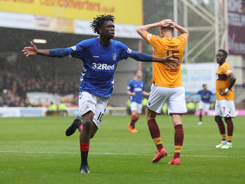 Ovie Ejaria of Rangers celebrates after he scores his team's third goal during the Scottish Premier League match between Motherwell and Rangers at Fir Park on August 19, 2018 in Motherwell, Scotland. (Photo by Ian MacNicol/Getty Images)