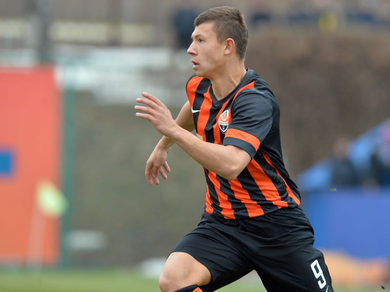Andriy Boryachuk of FC Shakhtar Donetsk in action during the UEFA Youth League Round of 16 match between FC Shakhtar Donetsk and FC Olympiacos at the FFU Training Complex on February 23, 2015 in Kiev,Ukraine. (Photo by Genya Savilov/EuroFootball/Getty Images)