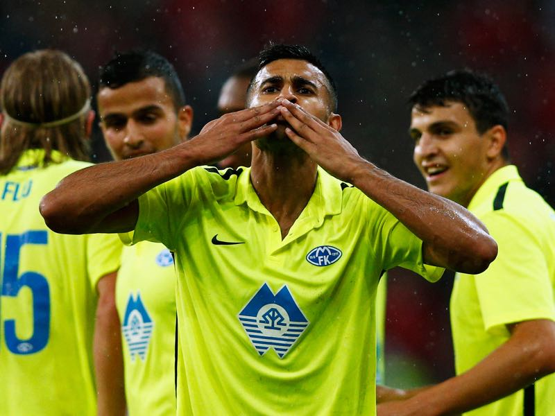 Etzaz Hussain (C) of Molde FK celebrates scoring his teams first goal of the game during the UEFA Europa League play off round second leg match between Standard Liege and Molde FK held at Stade Maurice Dufrasne on August 27, 2015 in Liege, Belgium. (Photo by Dean Mouhtaropoulos/Getty Images)