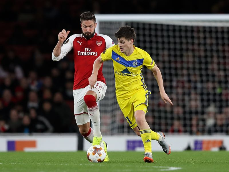 Mirko Ivanic of BATE Borisov holds off pressure from Olivier Giroud of Arsenal during the UEFA Europa League group H match between Arsenal FC and BATE Borisov at Emirates Stadium on December 7, 2017 in London, United Kingdom. (Photo by Matthew Lewis/Getty Images)