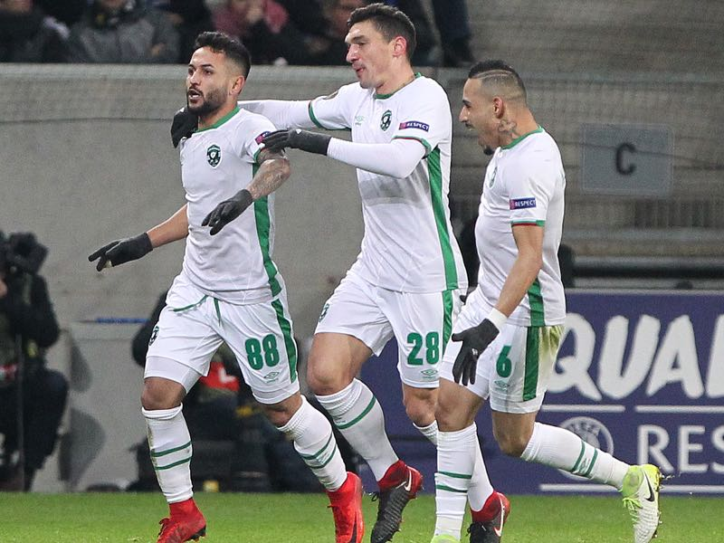 Ludogorets' Wanderson (L) celebrates scoring the 1-1 during the UEFA Europa League group C football match TSG 1899 Hoffenheim and Ludogorets Razgrad on December 7, 2017 in Sinsheim, Germany. / AFP PHOTO / Daniel ROLAND (Photo credit should read DANIEL ROLAND/AFP/Getty Images)