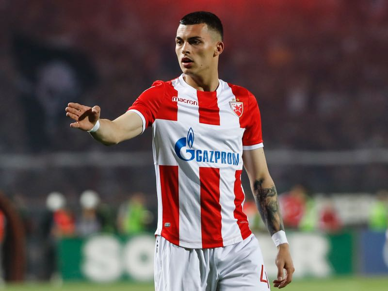 Nemanja Radonjic of Crvena Zvezda reacts during the Serbian Super League Play Off match between FK Crvena Zvezda and Partizan at the stadium Rajko Mitic on April 14, 2018 in Belgrade, Serbia. (Photo by Srdjan Stevanovic/Getty Images)