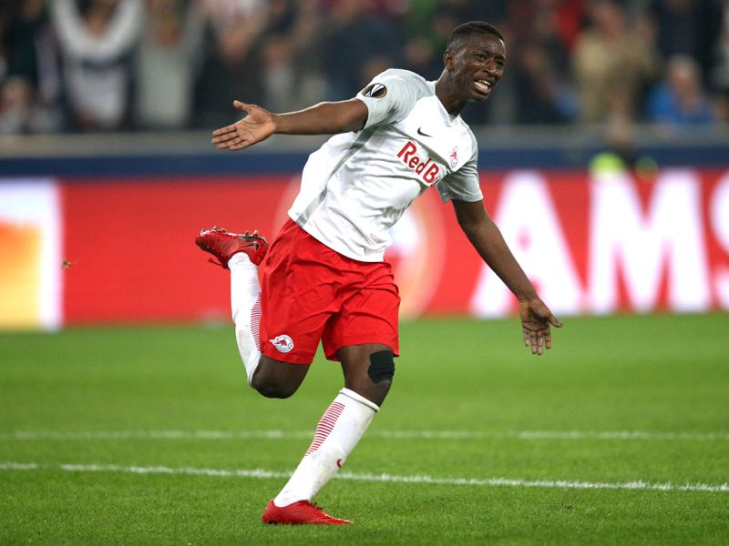 Amadou Haidara of Red Bull Salzburg celebrates scoring the first goal during the UEFA Europa Semi Final Second leg match between FC Red Bull Salzburg and Olympique de Marseille at Red Bull Arena on May 3, 2018 in Salzburg, Austria. (Photo by Adam Pretty/Bongarts/Getty Images)