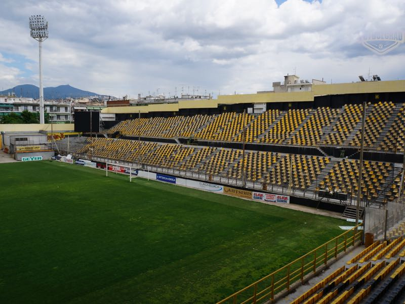 The view of the Kleanthis Vikelidis Stadium the home of Aris Thessaloniki (Manuel Veth/Futbolgrad Network)