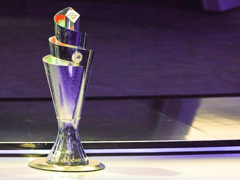 The competition's trophy is displayed during the UEFA Nations League draw at the headquarters of the European football organisation in Lausanne, on January 24, 2018. / AFP PHOTO / Philippe DESMAZES (Photo credit should read PHILIPPE DESMAZES/AFP/Getty Images)