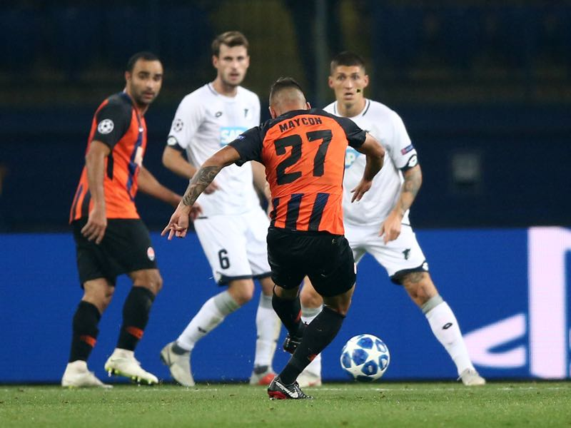 Shakhtar v Hoffenheim -Maycon of Shakhtar Donetsk scores his team's second goal during the Group F match of the UEFA Champions League between FC Shakhtar Donetsk and TSG 1899 Hoffenheim at Donbass Arena on September 19, 2018 in Donetsk, Ukraine. (Photo by Joosep Martinson/Getty Images)