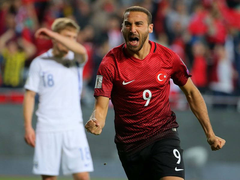 Cenk Tosun will be Turkey's key player in the UEFA Nations League B Group 2 (STR/AFP/Getty Images)