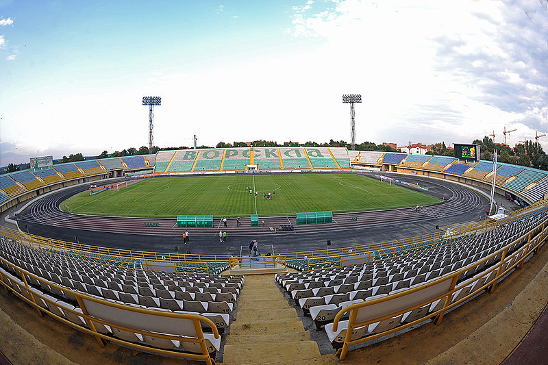 The Europa League match Vorskla Poltava vs Qarabag will take place at the Oleksiy Butovsky Vorskla Stadium(V&A Dudush CC-BY-3.0)