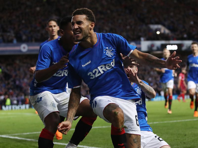 Connor Goldson of Rangers celebrates after scoring his team's opening goal during the first leg of the UEFA Europa League Play Off match between Rangers and FC Ufa at Ibrox Stadium on August 23, 2018 in Glasgow, Scotland. (Photo by Ian MacNicol/Getty Images)