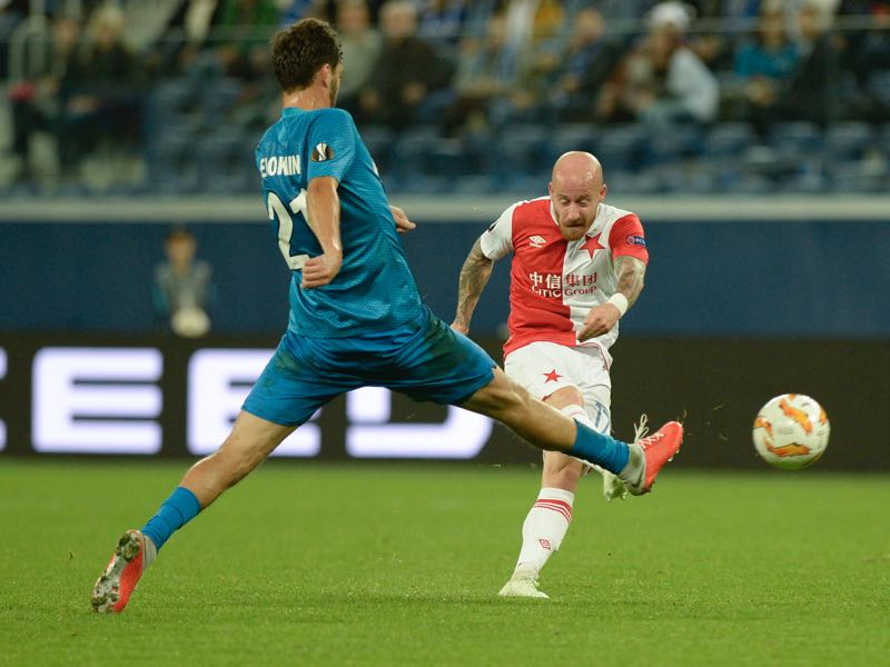 Zenit v Slavia - Miroslav Stoch (r.) was the man of the match (OLGA MALTSEVA/AFP/Getty Images)