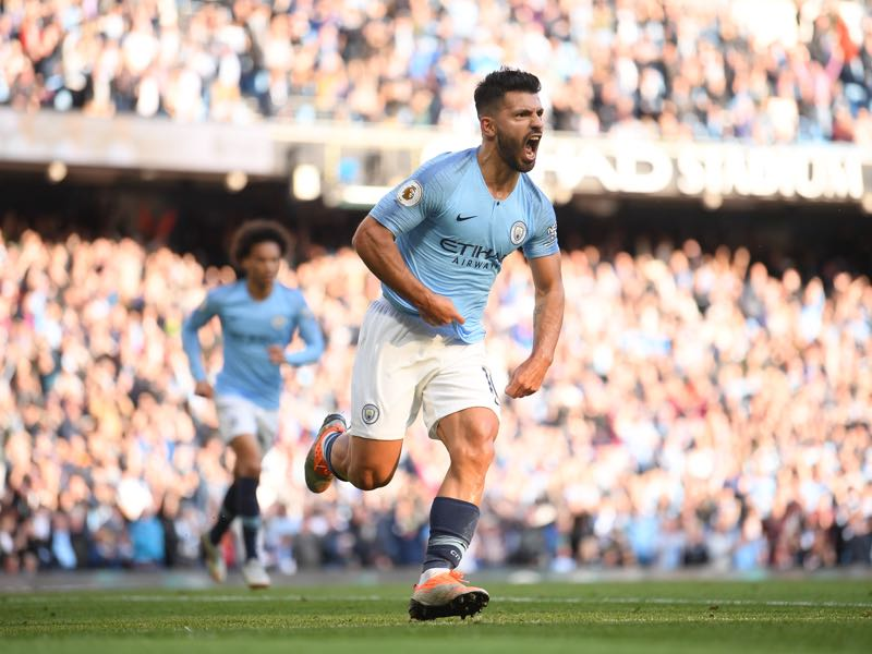 Sergio Aguero of Manchester City celebrates scoring during the Premier League match between Manchester City and Brighton & Hove Albion at Etihad Stadium on September 29, 2018 in Manchester, United Kingdom. (Photo by Laurence Griffiths/Getty Images)