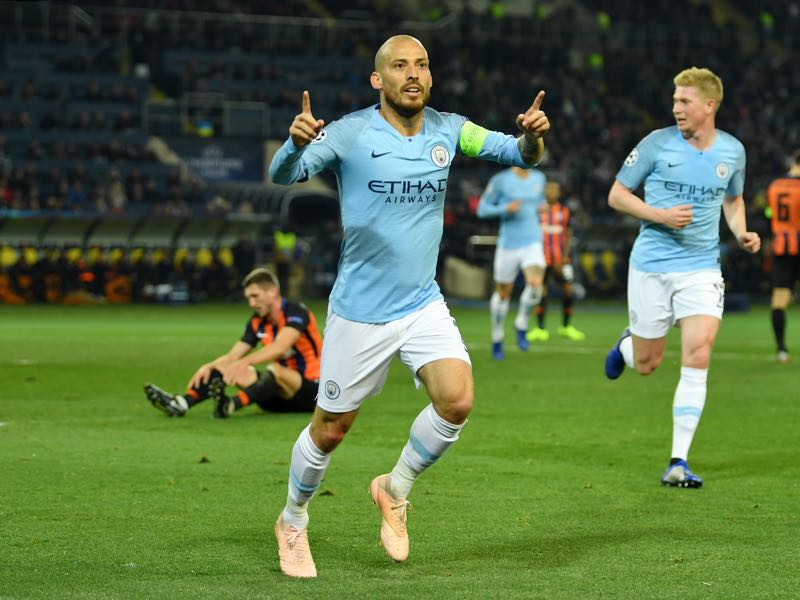 Shakhtar v Manchester City - David Silva of Manchester City celebrates after scoring his team's first goal during the Group F match of the UEFA Champions League between FC Shakhtar Donetsk and Manchester City at Metalist Stadium on October 23, 2018 in Kharkov, Ukraine. (Photo by Mike Hewitt/Getty Images)