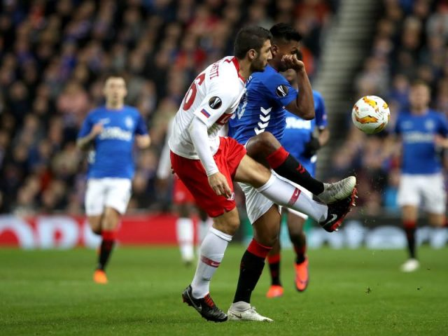 Rangers v Spartak Moscow - Salvatore Bocchetti of Spartak Moscow and Alfredo Morelos of Rangers during the UEFA Europa League Group G match between Rangers and Spartak Moscow at Ibrox Stadium on October 25, 2018 in Glasgow, United Kingdom. (Photo by Ian MacNicol/Getty Images)