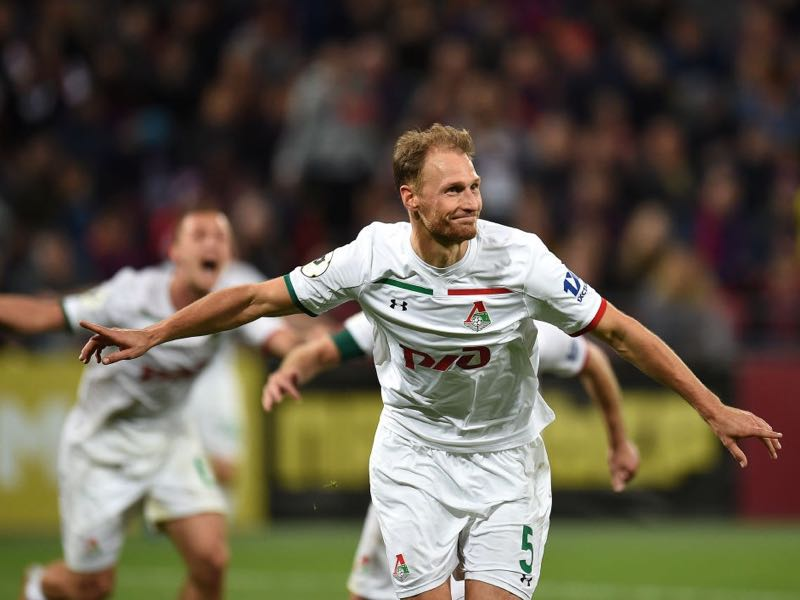 18dd3db11 Benedikt Höwedes of FC Lokomotiv Moscow celebrates after scoring a goal  during the Russian Premier League