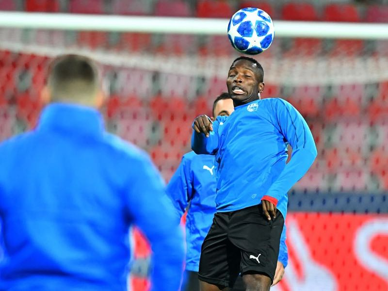 Viktoria Plzen's midfielder Ubong Moses Ekpai takes part in a training session on the eve of the UEFA Champions League group G football match Viktoria Plzen vs Real Madrid on November 6, 2018 in Plzen. (Photo by JOE KLAMAR / AFP)