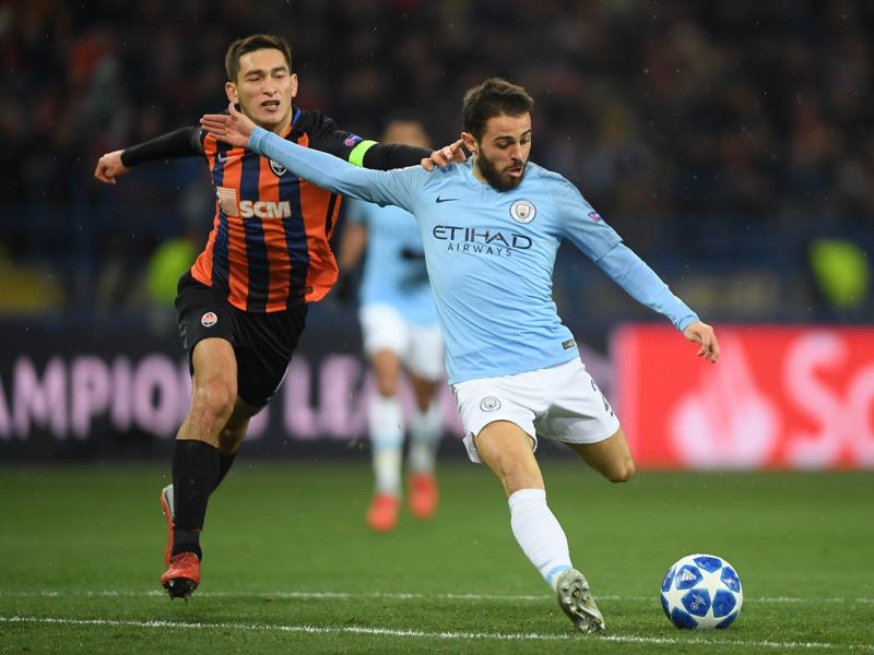 Bernardo Silva of Manchester City scores his team's third goal during the Group F match of the UEFA Champions League between FC Shakhtar Donetsk and Manchester City at Metalist Stadium on October 23, 2018 in Kharkov, Ukraine. (Photo by Mike Hewitt/Getty Images)