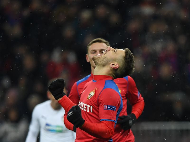 Champions League CSKA Moscow v Plzen - CSKA Moscow's Croatian midfielder Nikola Vlasic celebrates after scoring a goal from the penalty spot during the UEFA Champions League group G football match between PFC CSKA Moscow and FC Viktoria Plzen at the Luzhniki stadium in Moscow on November 27, 2018. (Photo by Kirill KUDRYAVTSEV / AFP)