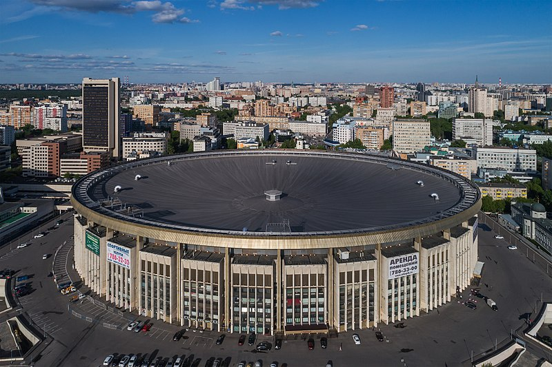 Aerial photo of Olimpiysky Indoor Arena in Moscow, which was frequently used to host CIS Cup matches (A. Savin Wikimedia Commons)