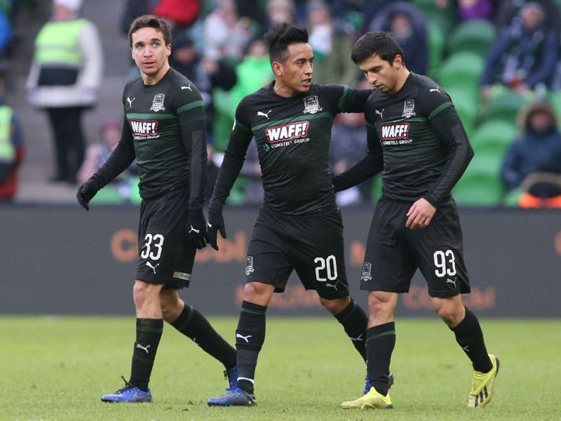 Shapi Suleymanov - Magomed-Shapi Suleymanov, Christian Cueva and Mauricio Pereyra of FC Krasnodar celebrates after scoring a goal during the Russian Premier League match between FC Krasnodar v FC Ural Ekaterinburg at the Krasnodar Stadium on December 02, 2018 in Krasnodar, Russia. (Photo by Epsilon/Getty Images)