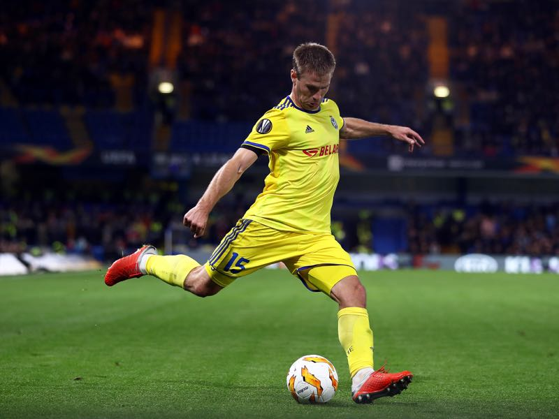Maksim Skavysh in action during the UEFA Europa League Group L match between Chelsea and FC BATE Borisov at Stamford Bridge on October 25, 2018 in London, United Kingdom. (Photo by Bryn Lennon/Getty Images)