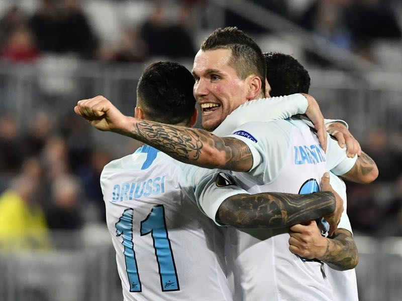 Zenit's forward Anton Zabolotny celebrates after scoring a goal during the UEFA Europa league football match of Group C, second leg match, between Bordeaux and Zenit Saint Petersburg on November 8, 2018 at the Matmut Atlantique stadium in Bordeaux, southwestern France. (Photo by NICOLAS TUCAT / AFP)
