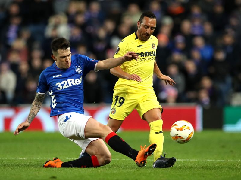 Ryan Jack of Rangers is challenged by Santi Cazorla of Villareal during the UEFA Europa League Group G match between Rangers and Villarreal CF at Ibrox Stadium on November 29, 2018 in Glasgow, United Kingdom. (Photo by Ian MacNicol/Getty Images)