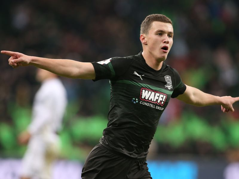 Ivan Ignatyev of FC Krasnodar celebrates after scoring a goal during the Russian Premier League match between FC Krasnodar v FC Ufa at the Krasnodar Stadium on December 09, 2018 in Krasnodar, Russia. (Photo by Epsilon/Getty Images)