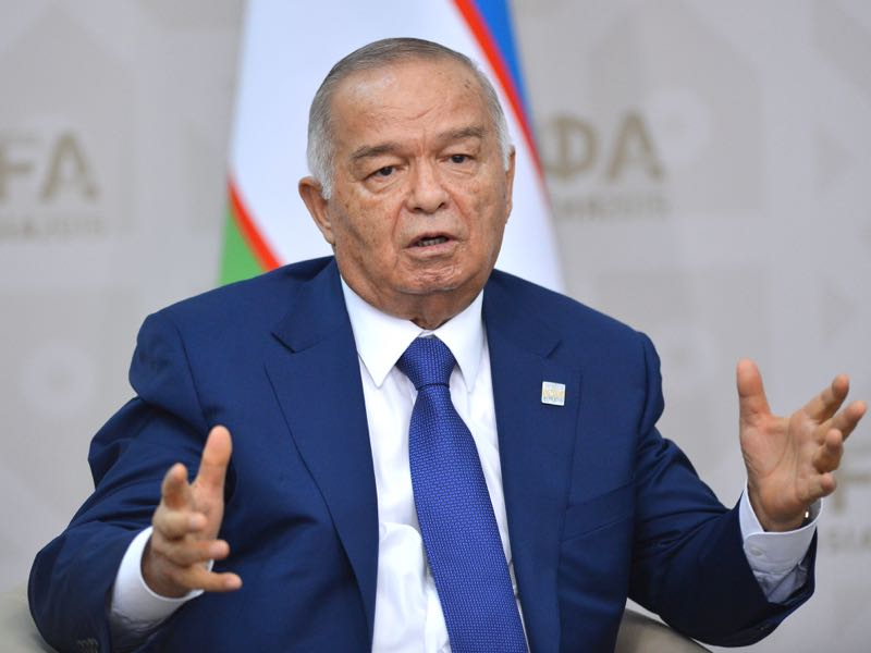 President of Uzbekistan Islam Karimov at a bilateral meeting with President of the Russian Federation Vladimir Putin in Ufa. during the BRICS/SCO Summits - Russia 2015 on July 10, 2015 in Ufa, Russia. (Photo by Host Photo Agency/Ria Novosti via Getty Images)