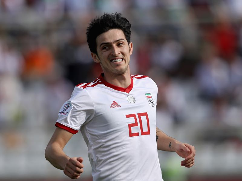 Sardar Azmoun of Iran looks on during the AFC Asian Cup Group D match between Vietnam and Iran at Al Nahyan Stadium on January 12, 2019 in Abu Dhabi, United Arab Emirates. (Photo by Francois Nel/Getty Images)