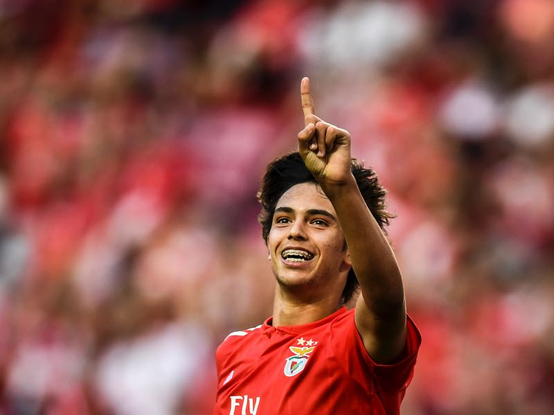 Benfica's midfielder Joao Felix celebrates a goal during the Portuguese league football match between SL Benfica and CD Aves at the Luz stadium in Lisbon on September 23, 2018. (Photo by PATRICIA DE MELO MOREIRA / AFP)